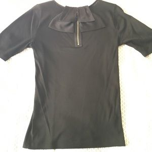 Ann Taylor black top with satin bow on back